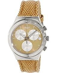 Swatch Women's Irony YCS582 Brown Leather Swiss Quartz Watch