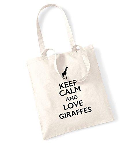 Keep calm calm and giraffes tote love Keep Natural bag love and RCwqw7