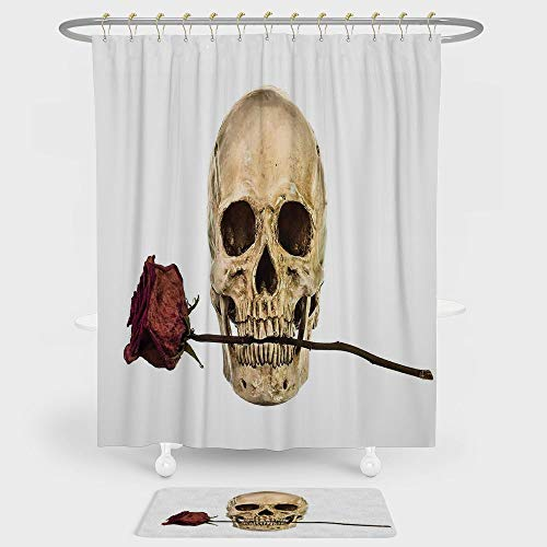 Gothic Decor Shower Curtain And Floor Mat Combination Set Skull with Dry Red Rose in Teeth Anatomy Death Eye Socket Jawbone Halloween Art Decorative For decoration and daily use