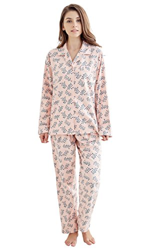 - Tony & Candice Women's 100% Cotton Long Sleeve Flannel Pajama Set Sleepwear (Large, Pink Green Trees)