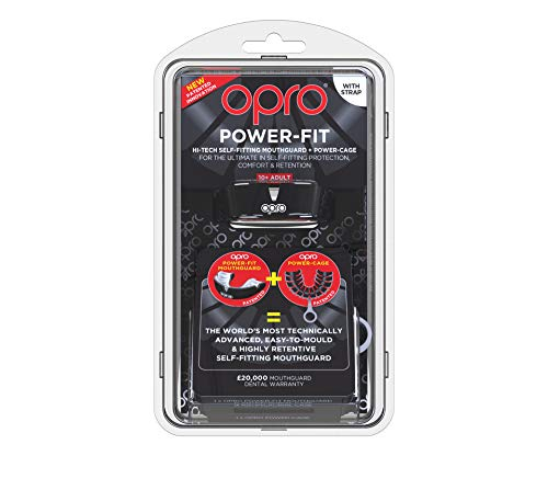 OPRO Power-Fit Mouthguard | Adult Handmade Gum Shield + Strap for Football, Lacrosse, Hockey and Other Contact Sports - 18 Month Dental Warranty (Ages 10+) (Black) by OPRO (Image #1)