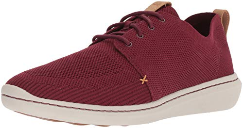 (CLARKS Men's Step Urban Mix Sneaker, Burgundy Textile Knit, 080 M US)
