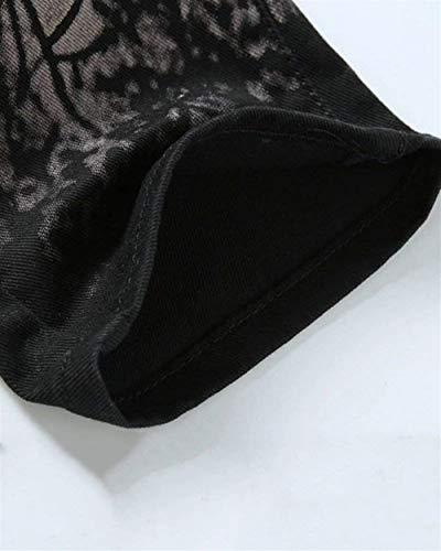 Skinny Nero Battercake Stampato Jeans Pantalone Pantaloni Elasticizzato Slim Uomo Lunghi Gamba Comodo Fit Dritta COwa0qOxT