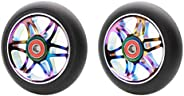 2Pcs Replacement 110 mm Pro Stunt Scooter Wheel with ABEC 9 Bearings Fit for MGP/Razor/Lucky Pro Scooters(Star