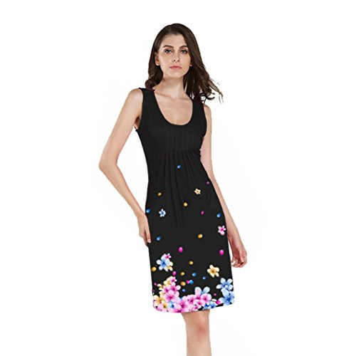 Mode Sommer Damen Frauen Ärmelloses O Neck Blumen Printed Abendkleid ...