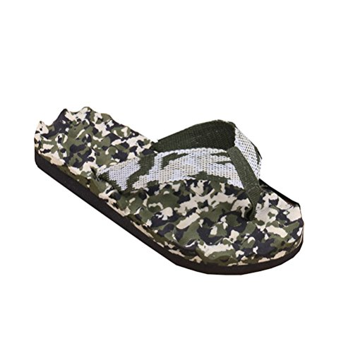 Linyuan Casual Style Mens Summer Beach Strand Flip Flops Shoes Massage Slippers Camo Green