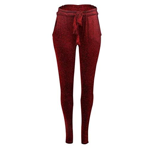 Rosso Skinny Ragazze Elastico Pantaloni Up Eleganti Vita Alta Tagliata Leggings Leggins Lucidi Push Neri Donna Pants q8x0wqZF