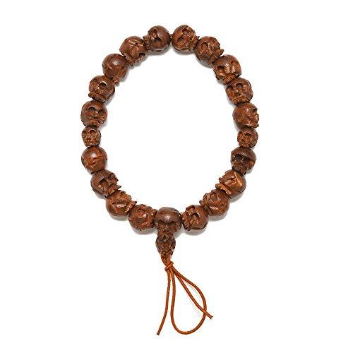 KYOTO ASAHIYA Japanese Boxwood (Tsuge) Skull Mens Wood Bracelet White Black Buxus Buddhist Juzu Prayer Beads Asian Rosary Handmade Crafts Gift for Men (Black)