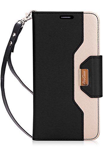 ProCase Wallet Case for LG V30, Folio Folding Flip Protective Case for LG V30 / LG V30 Plus/LG V35 / LG V35 ThinQ (2017), LG V30S ThinQ(2018) with Card Holder Kickstand -Black