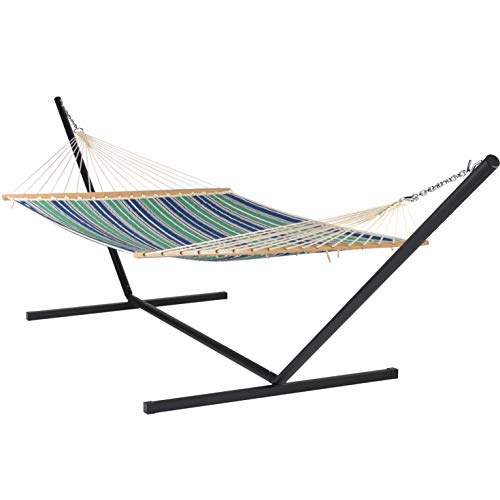 Quilted Hammock and Tribeam Stand (Green and Blue Stripe with TRIBEAM Stand Black)