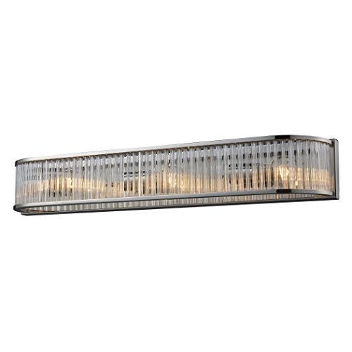 Alumbrada Collection Braxton 3 Light Vanity In Polished Nickel And Ribbed Glass Rods