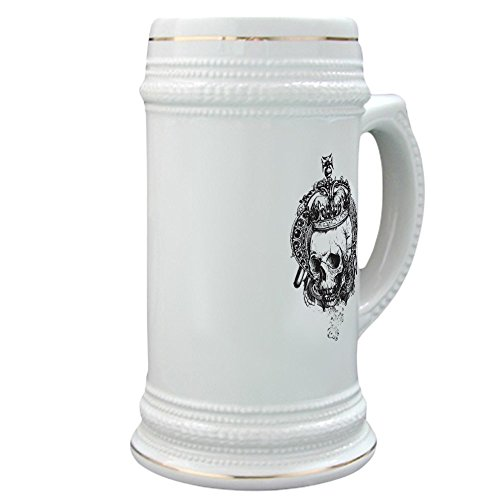 Stein (Glass Drink Mug Cup) Dead King Skull Crown