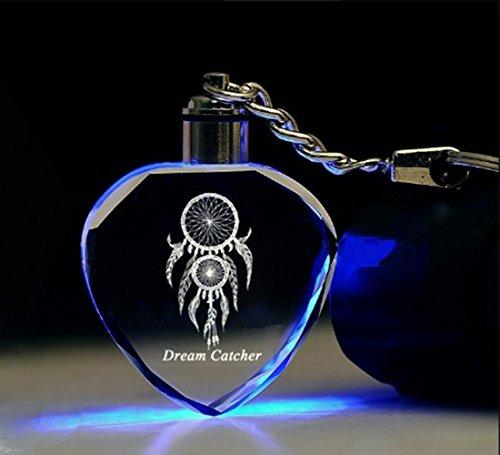 - Dream Catcher Crystal Keychain for Girls, Girlfriend, Women, Kids, Heart Shaped Light Up Key Chain Laser Engraved, Ideal Gifts (1 Set)