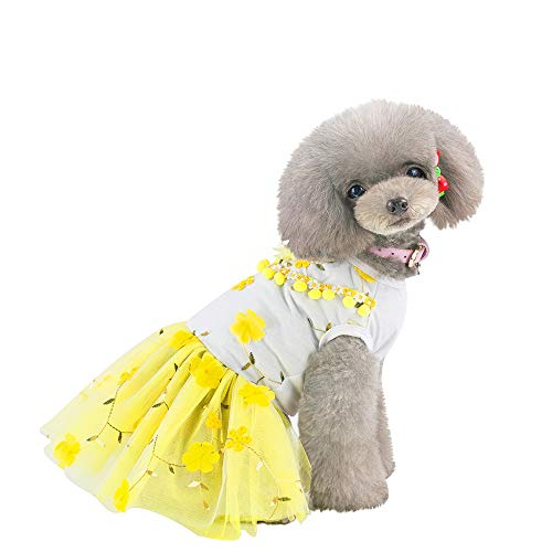 Summer Pet Dog Cat Clothes Embroidered Lace Plum Skirt Pet Dog Cat Bottoming Flower Print Dress Clothes Cat Breathable - Skirt Denim Plums