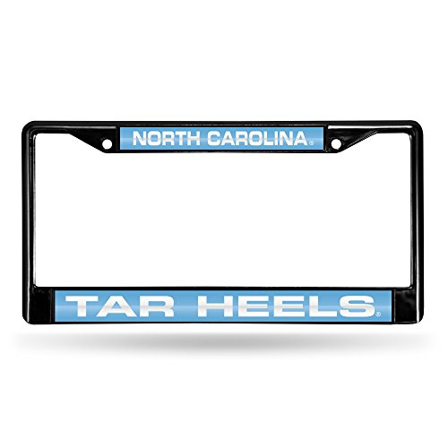 NCAA North Carolina Tar Heels Laser Cut Inlaid Black Standard Chrome License Plate - Heels North Fan Carolina Tar