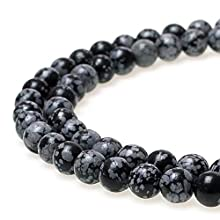 JarTc Snowflake Obsidian Beads Round Natural Stone Beads for Jewelry Making DIY Bracelet (6mm)