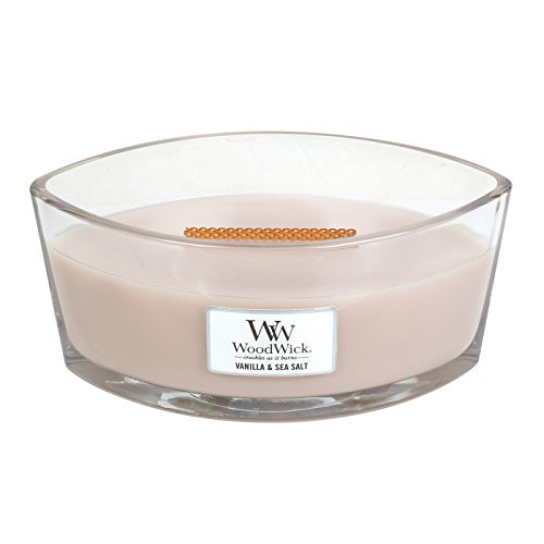 - WoodWick Vanilla & SEA Salt, Highly Scented Candle, Ellipse Glass Jar with Original HearthWick Flame, Large 7-inch, 16 oz