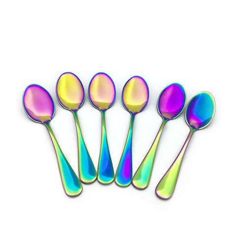 (Renohef Rainbow Coffee Spoons,Stainless Steel Colorful Plated Mini Spoon,Tea Spoon,Ice Cream Spoon,Dessert Teaspoon Fruit Scoop Colorful Flatware Wedding Dinnerware Cutlery,Set of 6 (sharp))