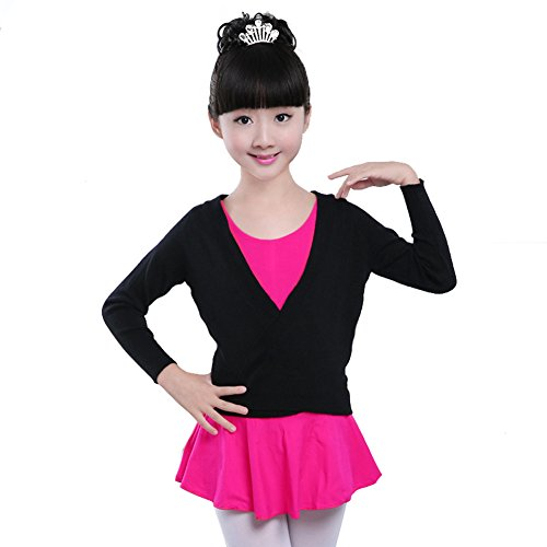 Girls Kids Classic Shawls Long Sleeve Knitted Ballet Dance Sport Wrap Over Top (Black, 12-16) by DREAMOWL