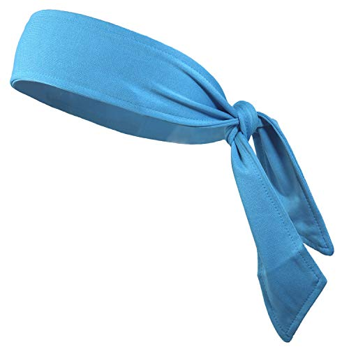Headbands Tie on Headband for Women Men Running Athletic Hair Head Band Elastic Sports Sweat Basketball Sweatband Stetchy Yoga Workout Sweatbands Adjustable Non-Slip Moisture Wicking (teal) (Cotton Wrap Athletic)