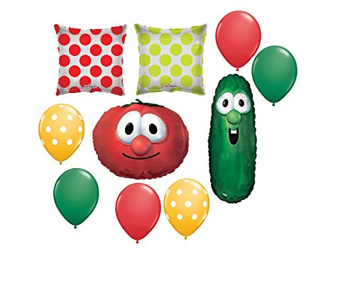 10 BALLOONS new VEGGIE TALES larry CUCUMBER bob TOMATOE party decor favors any -