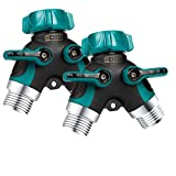 ZAYAD Y Hose Splitter 2 Way, Body Metal Garden Hose Connector Comfortable Rubberized Grip Outdoor Faucet, Sprinkler & Drip Irrigation Systems,Bonus Included: 6 Washers (2-Packs)