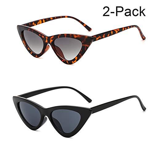 YOSHYA Retro Vintage Narrow Cat Eye Sunglasses for Women Clout Goggles Plastic Frame (Black Grey + Leoaprd ()