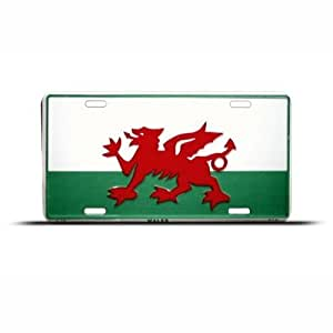 Wales Red Dragon Welsh Flag License Plate Wall Sign Tag
