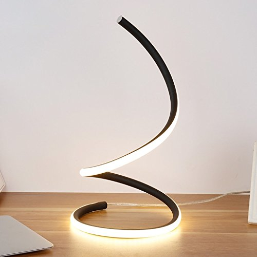 LOFAMI Art Creative Fashion Led Bedroom Bedside Lamp, Work Study Eye Lamp, Simple Modern Living Room Hotel Decoration Table Lamp (Color : Black White Light)