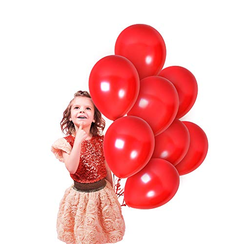 Metallic Red Latex Balloons 12 Inch 100 Pack Bridal Shower Decor for Valentines Day Decorations Bulk Balloons Engagement Happy Birthday Parties Baby Shower Bachelorette Wedding Anniversary Supplies (Best Places To Go In Nashville For Bachelorette Party)