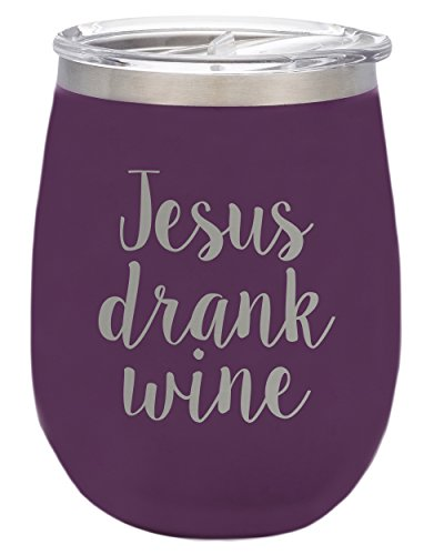 TSC Powder Coated Jesus Drank Wine BruMate 14oz Stemless Wineglass with Slider Lid-Plum