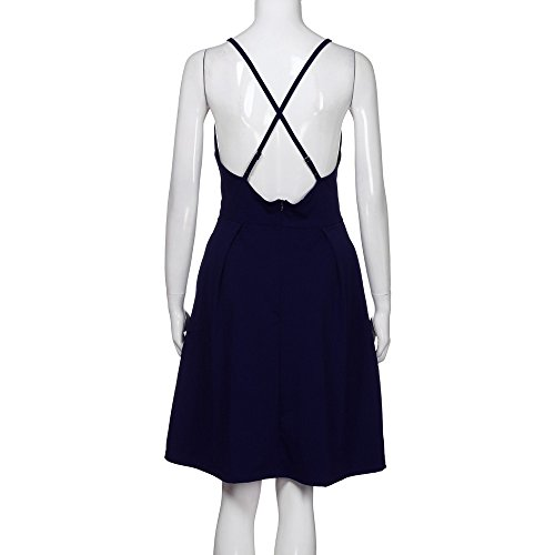 On Tops Spaghetti Dresses Dress Tunic Solid Evening Midi Lady Party Backless Navy Adjustable Sale Women Sleeveless fqBt8x5fw