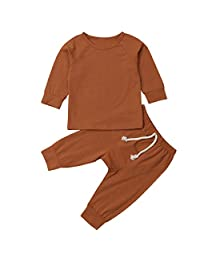 Aunavey Newborn Baby Boy Girl Solid Color Romper Harem Pants Unisex Baby Coming Home Outfit Basic Outfits