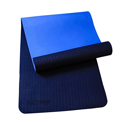 SuChieve Yoga Mat- TPE Non-Slip Exercise Mat High -Density Body Alignment Systems Eco-Friendly to Fitness Lightweight with Carrying Strap Ideal Size for Workout, Floor Exercise, Pilate