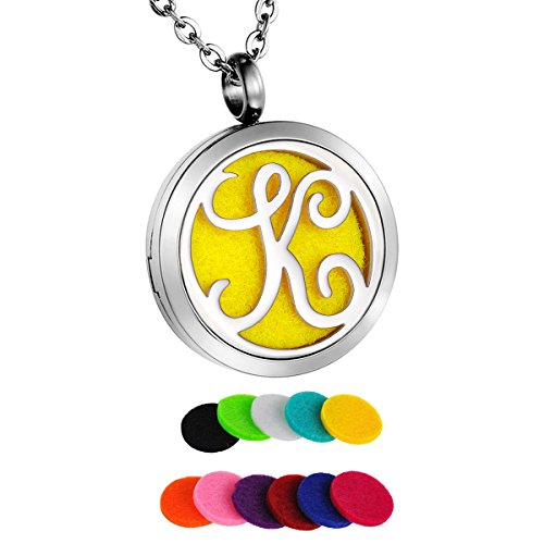 HooAMI Aromatherapy Essential Oil Diffuser Necklace Locket Pendant,Alphabet Letter K Initial Necklace