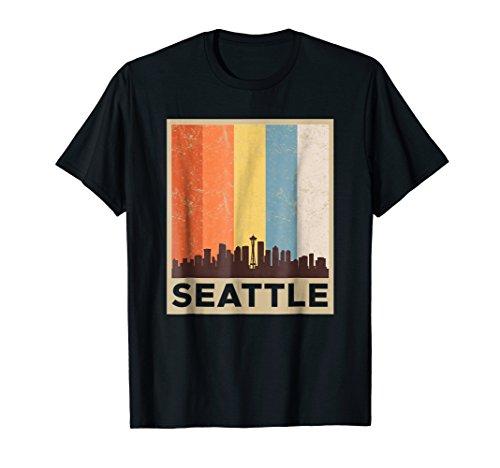 (Seattle T-Shirt City Skyline Retro Vintage Souvenir Teeshirt)