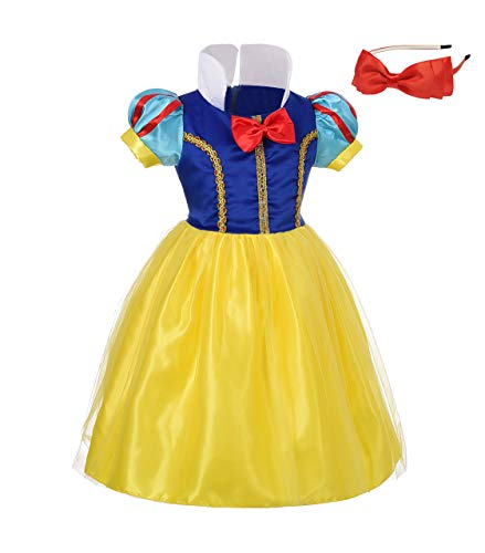 Lito Angels Girls' Princess Snow White Costume Fancy Dresses Up Halloween Outfit with Headband Size 2 B]()