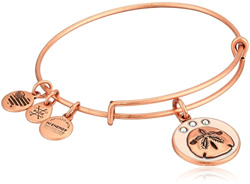 Alex and Ani Women's Color Infusion, Sand Dollar Charm Bangle Bracelet, Rafaelian Rose Gold, Expandable made in New England
