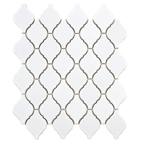 Glossy Tile Flooring - SomerTile FDXARGW Casablanca Porcelain Floor and Wall Tile, 9.875