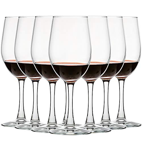 [12 Ounce Set of 8] Classic Red/White Wine Glasses Lead-Free Stemware for Party