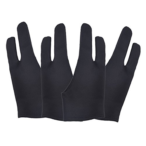 4 Pack Artist Anti-fouling Glove with Two Fingers for Digital Artists, Prevents Smudges for Light Box Graphic Tablet Pen Display iPad Pro Pencil Black Drawing Art Creation (Medium) (Best Pc For Graphic Artist)