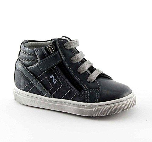 NEGRO JARDINES JUNIOR 24000 Zapatos de bebé azul mediados zip cordones de zapatillas Blu