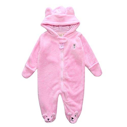 Omiky® Herbst Winter Neugeborene Baby Säugling Junge Mädchen Bär Hoodie Jumpsuit Spielanzug Kleidung Rosa