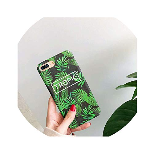 Hard PC Marble Case for iPhone Xs Max XR X 10 Fashion Green Leaves Full Cover Matte Phone Cases for iPhone 7 7plus 6s 6 8 Plus,6,for iPhone 8plus