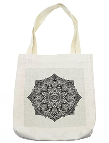 Lunarable Mandala Tote Bag, Concentric Vortex Like Monochromatic Circular Form Traditional Meditation Image, Cloth Linen Reusable Bag for Shopping Groceries Books Beach Travel & More, Cream by Lunarable
