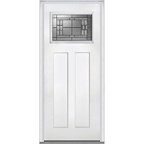 National Door Company Z021382R Craftsman 2-Panel Roman Decorative Glass Fiberglass Smooth Primed 36