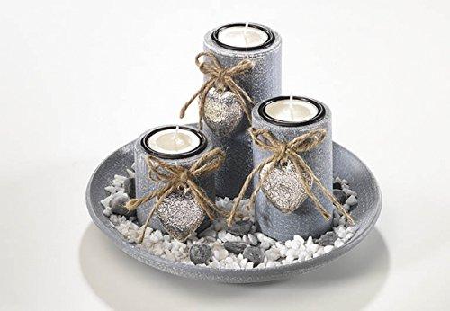 Dekoschale aus Holz mit drei Kerzen grau