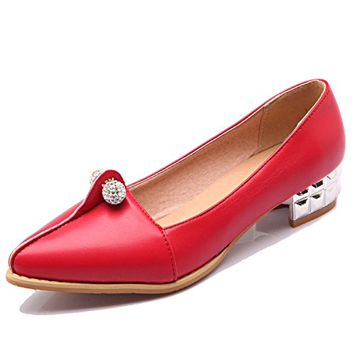 Kenavinca Shoes 8 Spring Metal Solid Shoes Shoes Large Female 34 Women's Q1 Size Shoes 47 Flats Toe Fashion Ballet Woman Casual Red Pointed rrqwOAx