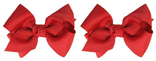 Olivia Boutique Hair Bow Set By Funny Girl Designs (Red)