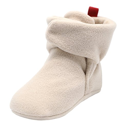 Annnowl Baby Booties Socks Warm Stay On Adjustable Boots (12-18 Months, Beige)